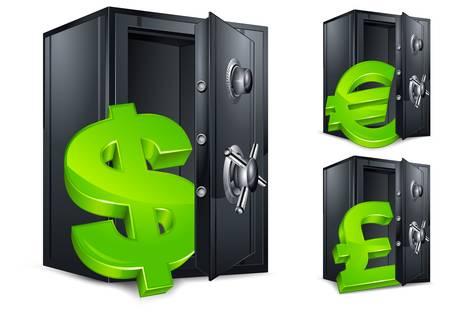 safe deposit box: Open bank safes with money symbol on white, vector illustration