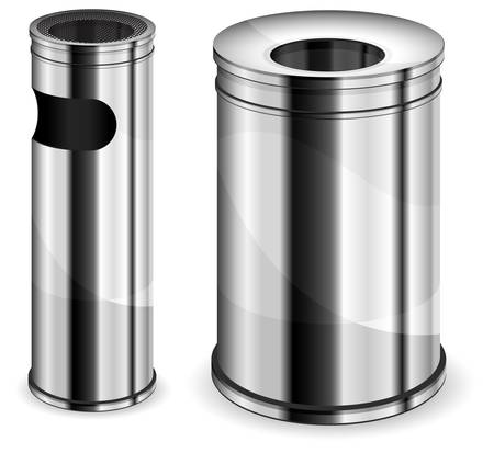Different sizes metal trash bins on white background, vector illustration