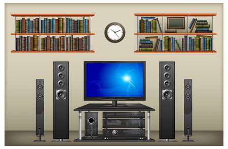 Lounge room interior with TV, speaker, bookshelf and clock, vector illustration