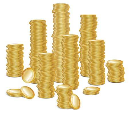 coin bank: Bunch of gold money coins on white, vector illustration