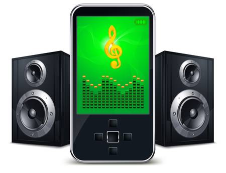 Player with speakers and music sing on the screen on white, vector illustration