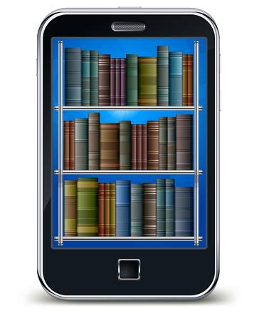 the reader: Mobile phone with library of books on the screen, scientific concept