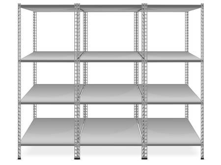 Estantes vacíos aislados en fondo blanco Ilustración de vector