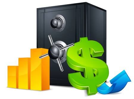 safe deposit box: Black metal bank safes with money symbol and shadow on white. Illustration