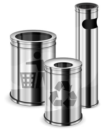 Different sizes metal trash bins with recycle signs on white background. Vector
