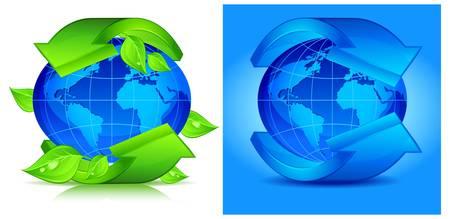 encircle: Green arrows around blue planet.