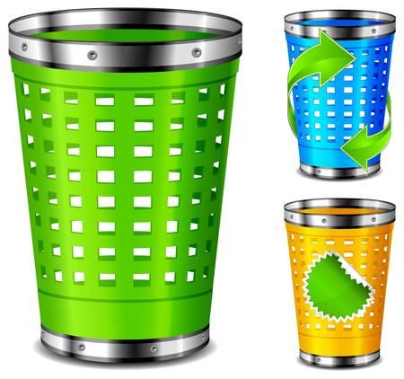 recycle bin: Cestas de basura plástica con reciclan signo sobre fondo blanco. Vectores