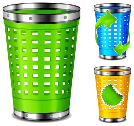 bin: Plastic trash baskets with recycle sign on white background. Illustration
