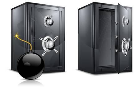 fuse box: Black metal bank safes and bomb on white. Illustration