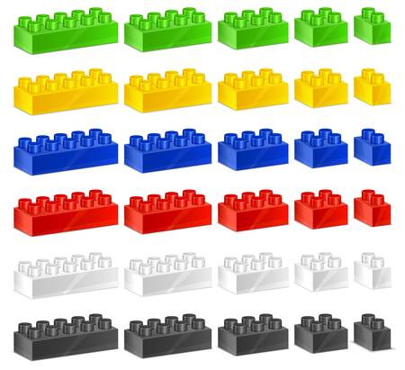constructor: Children plastic constructor, color toy blocks on white