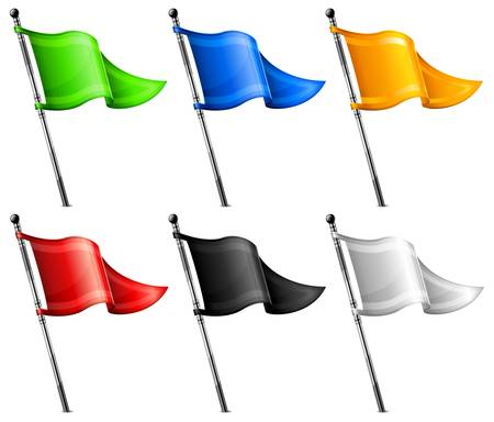 Set of little color triangle flags on flagpole