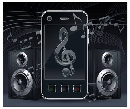 speaker phone: Mobile phone with speakers and music sing on the screen on black