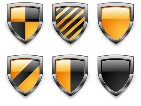 Shield security icons, in black yellow color on white Stock Vector - 10563942
