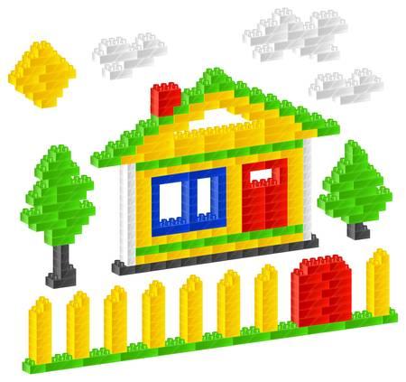 House of children plastic constructor on white, vector illustration Illustration