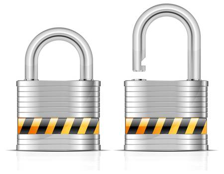 Two metal open and close padlocks on white, vector illustration Ilustrace