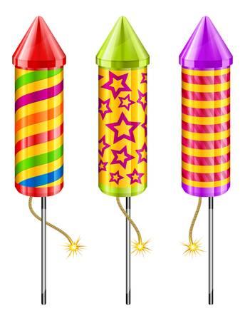 cohetes: Cohetes de fuegos artificiales de diferentes colores sobre fondo blanco, ilustraci�n vectorial