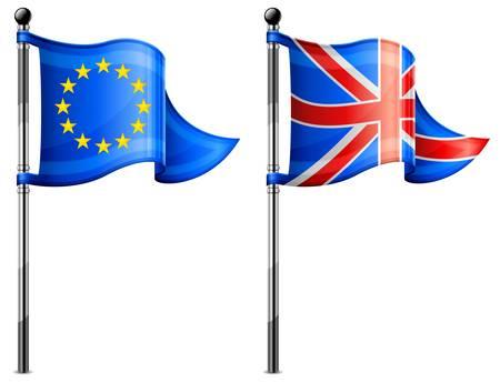 Two little Euro &amp, Britain triangle flag on flagpole.