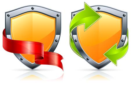 Shield security icons with green arrows and red ribbon on white.