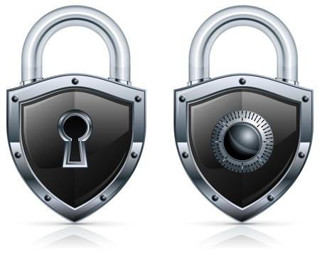 Black metal padlock in shape of shield on white. Vector