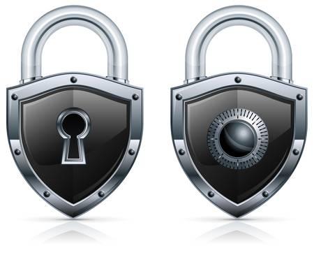 to lock: Lucchetto in metallo nero a forma di scudo su bianco.