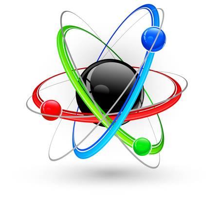 Núcleo central rodeado de electrones de color sobre fondo blanco.