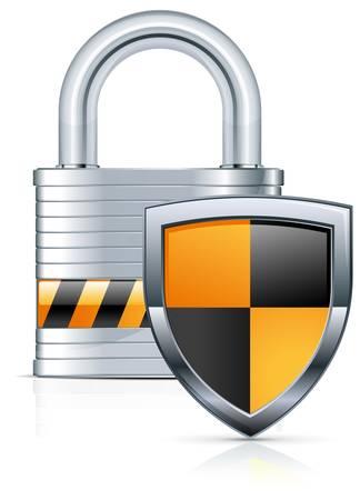 to lock: De metal con candado y dos escudo de color sobre fondo blanco.