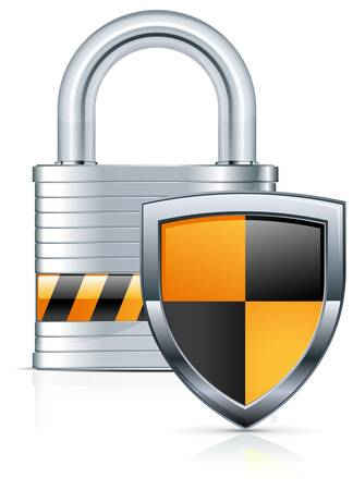 Metal padlock and two color shield on white. Illustration