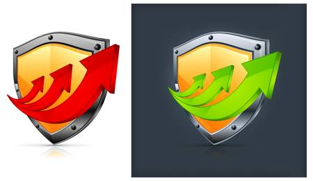 Shield security icons with green and red arrows on white and black. Stock Vector - 10769728