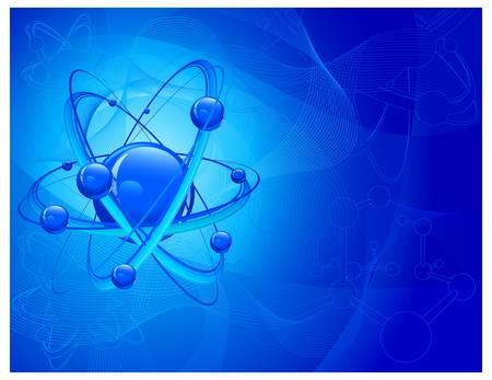atomo: N�cleo central rodeado por electrones en el fondo molecular en azul, ilustraci�n vectorial