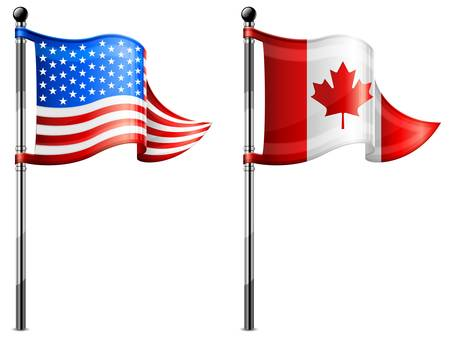 flagpole: Two little USA &amp, Canada triangle flag on flagpole illustration