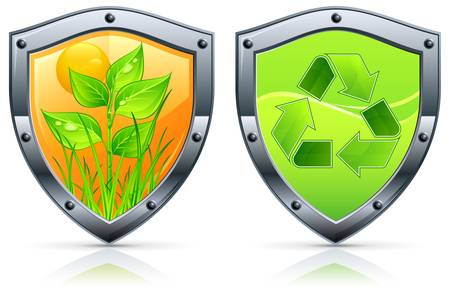 Shield security icons with grass and plant on white illustration for environment Vector