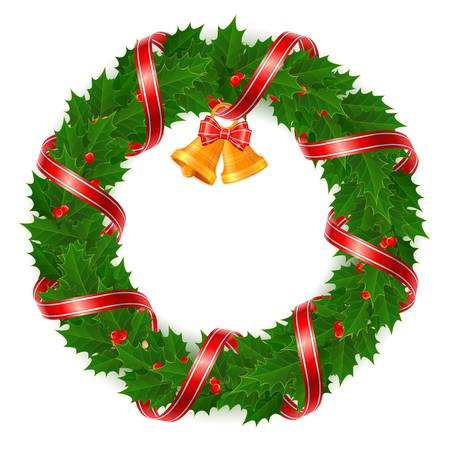 Christmas wreath of holly berry and bell with red ribbon, vector illustration  Vector