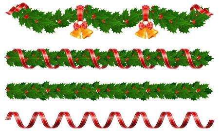 evergreen: Christmas holly garland with bell and ribbon, vector illustration