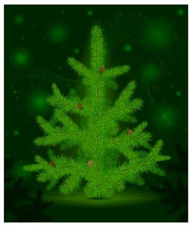 furtree: green Christmas fur-tree with cones on green decoration background, vector illustration