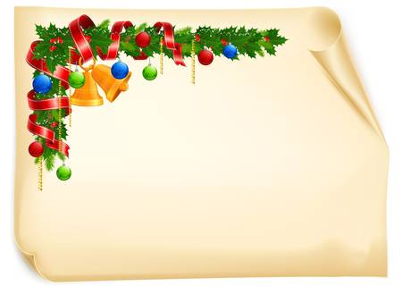festive pine cones: Christmas angle garland with bell, ball and ribbon on old paper roll, vector illustration