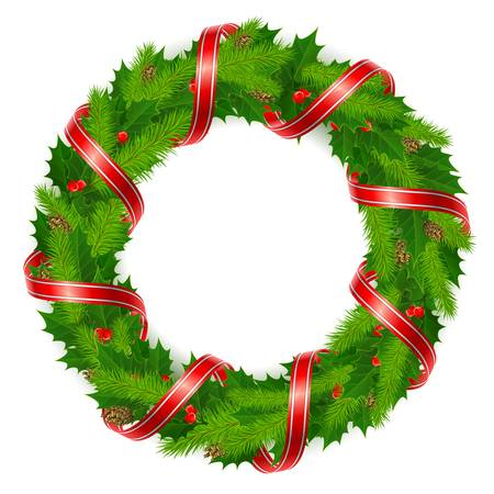 holly leaves: Christmas wreath of holly berry, fir branch and red ribbon.