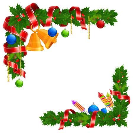 fir cone: Navidad �ngulo guirnalda con campana, pelota y cinta.