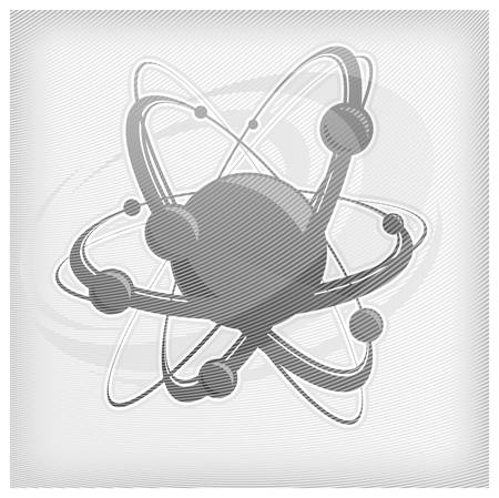 Central nucleus surrounded by electrons in grey strip, vector illustration Stock Vector - 11276514