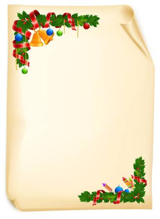 Christmas angle garland with bell, ball and ribbon on old paper roll, vector illustration  Vector