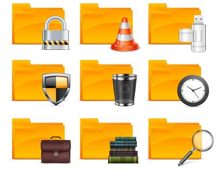 Folder with different icons, isolated on white background Stock Vector - 11329686