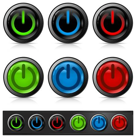 Glossy power button icon on white Vector