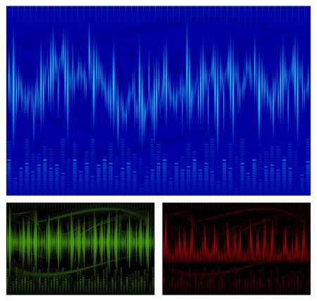 Pantalla gráfica de ecualización, las ondas sonoras, música de fondo