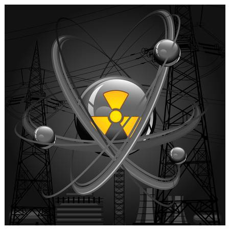Núcleo central rodeado de electrones sobre fondo de construcción en negro