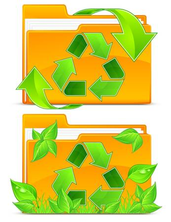 Folder with green plant and arrows, isolated on white background Stock Vector - 11570543