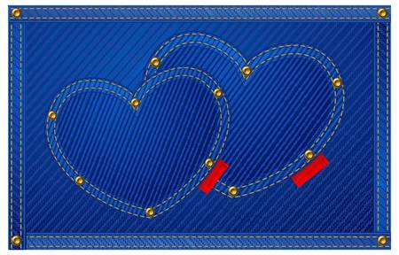 Blue jeans hearts isolated on blue, Valentine illustration.  Vector