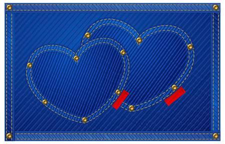jeans fabric: Blue jeans hearts isolated on blue, Valentine illustration.  Illustration