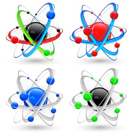 nucleus: Central nucleus surrounded by electrons, different atom variation in color