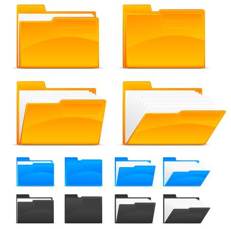 download folder: Folder icons, isolated on white background Illustration