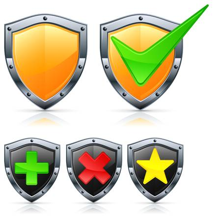 Shield security icons with different signs on white Stock Vector - 11570553