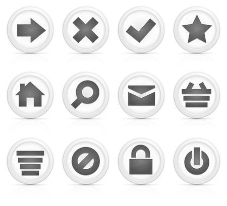 Set of computer icons in grey isolated on white background Vector